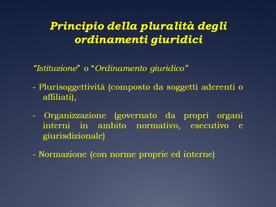 Principio della pluralità degli ordinamenti giuridici Istituzione o Ordinamento giuridico - Plurisoggettività (composto da soggetti aderenti o affilia
