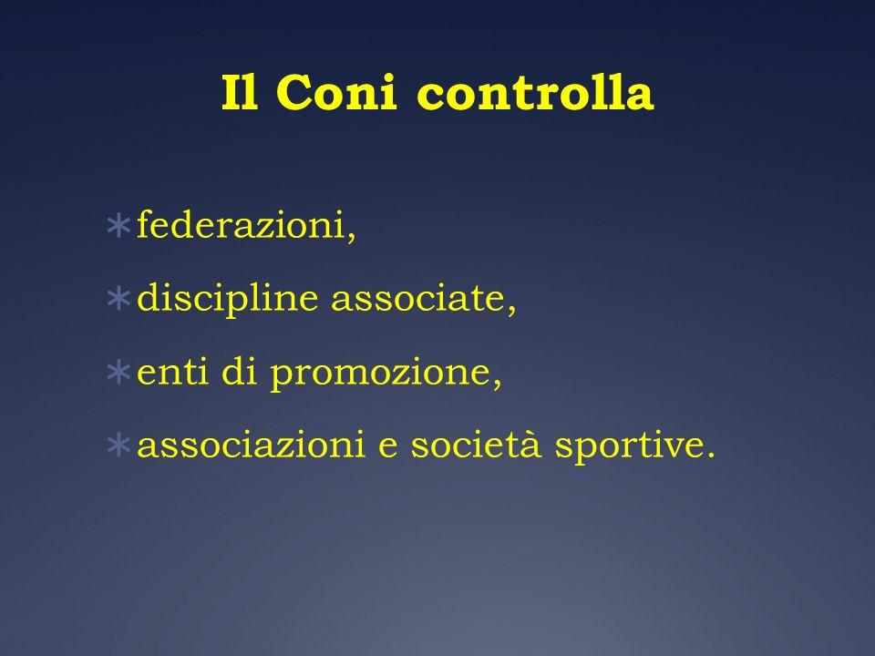 Il Coni controlla federazioni, discipline associate, enti di promozione, associazioni e società sportive.