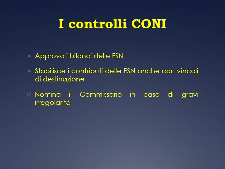 I controlli CONI Approva i bilanci delle FSN Stabilisce i contributi delle FSN anche con vincoli di destinazione Nomina il Commissario in caso di grav