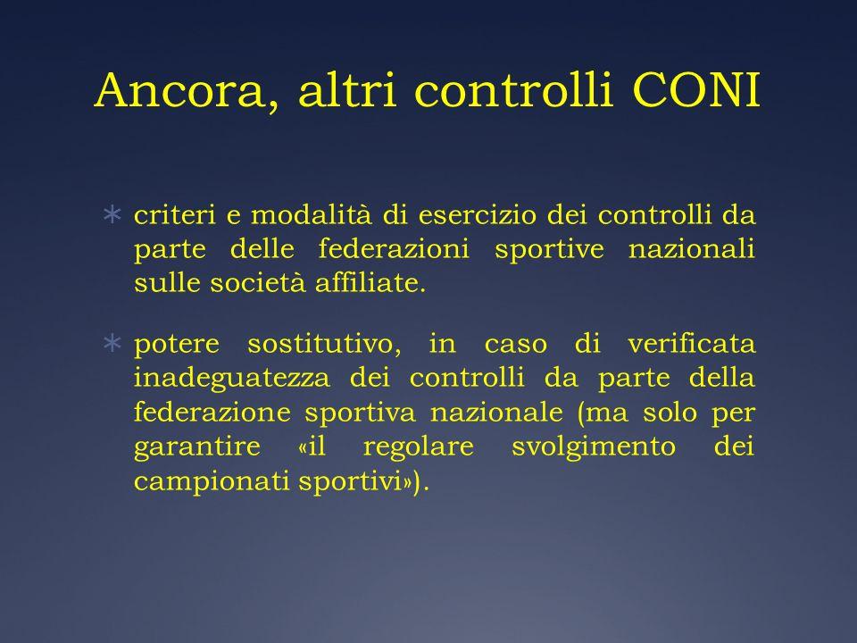Ancora, altri controlli CONI criteri e modalità di esercizio dei controlli da parte delle federazioni sportive nazionali sulle società affiliate. pote
