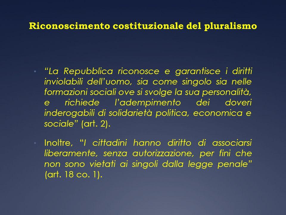 Riconoscimento costituzionale del pluralismo La Repubblica riconosce e garantisce i diritti inviolabili delluomo, sia come singolo sia nelle formazion