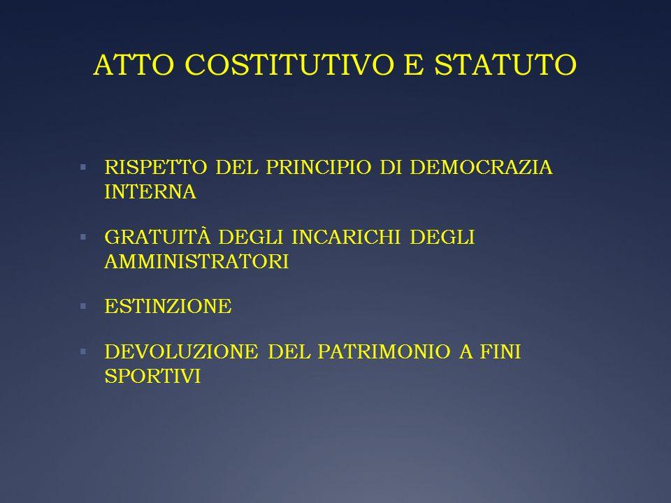 ATTO COSTITUTIVO E STATUTO RISPETTO DEL PRINCIPIO DI DEMOCRAZIA INTERNA GRATUITÀ DEGLI INCARICHI DEGLI AMMINISTRATORI ESTINZIONE DEVOLUZIONE DEL PATRI