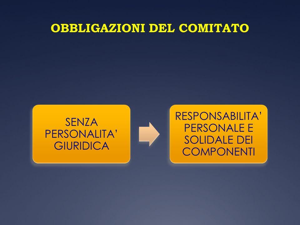 OBBLIGAZIONI DEL COMITATO SENZA PERSONALITA GIURIDICA RESPONSABILITA PERSONALE E SOLIDALE DEI COMPONENTI