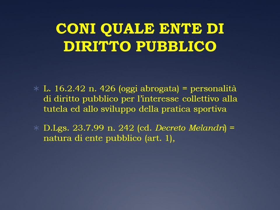 CONI QUALE ENTE DI DIRITTO PUBBLICO L. 16.2.42 n. 426 (oggi abrogata) = personalità di diritto pubblico per linteresse collettivo alla tutela ed allo