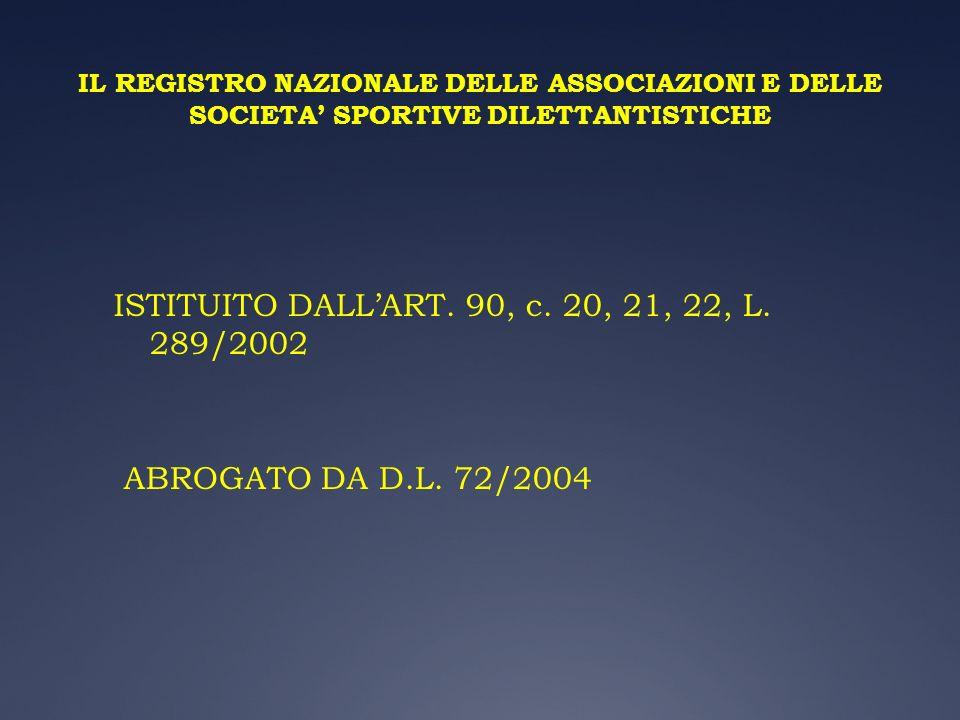 IL REGISTRO NAZIONALE DELLE ASSOCIAZIONI E DELLE SOCIETA SPORTIVE DILETTANTISTICHE ISTITUITO DALLART. 90, c. 20, 21, 22, L. 289/2002 ABROGATO DA D.L.