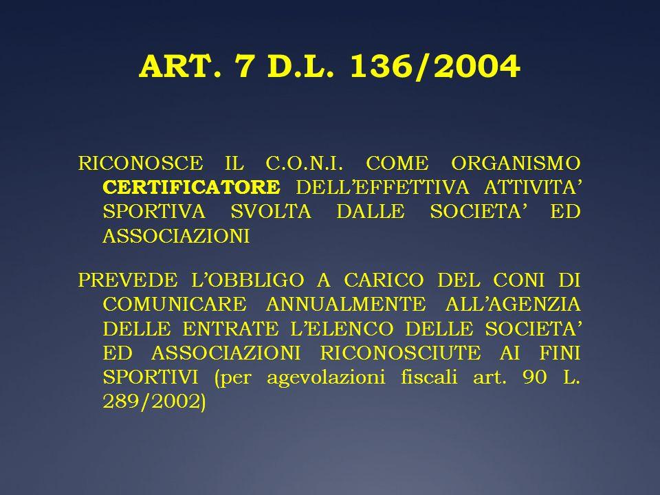 ART. 7 D.L. 136/2004 RICONOSCE IL C.O.N.I. COME ORGANISMO CERTIFICATORE DELLEFFETTIVA ATTIVITA SPORTIVA SVOLTA DALLE SOCIETA ED ASSOCIAZIONI PREVEDE L