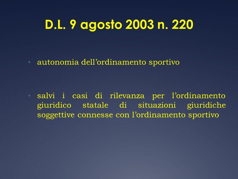 D.L. 9 agosto 2003 n. 220 autonomia dellordinamento sportivo salvi i casi di rilevanza per lordinamento giuridico statale di situazioni giuridiche sog