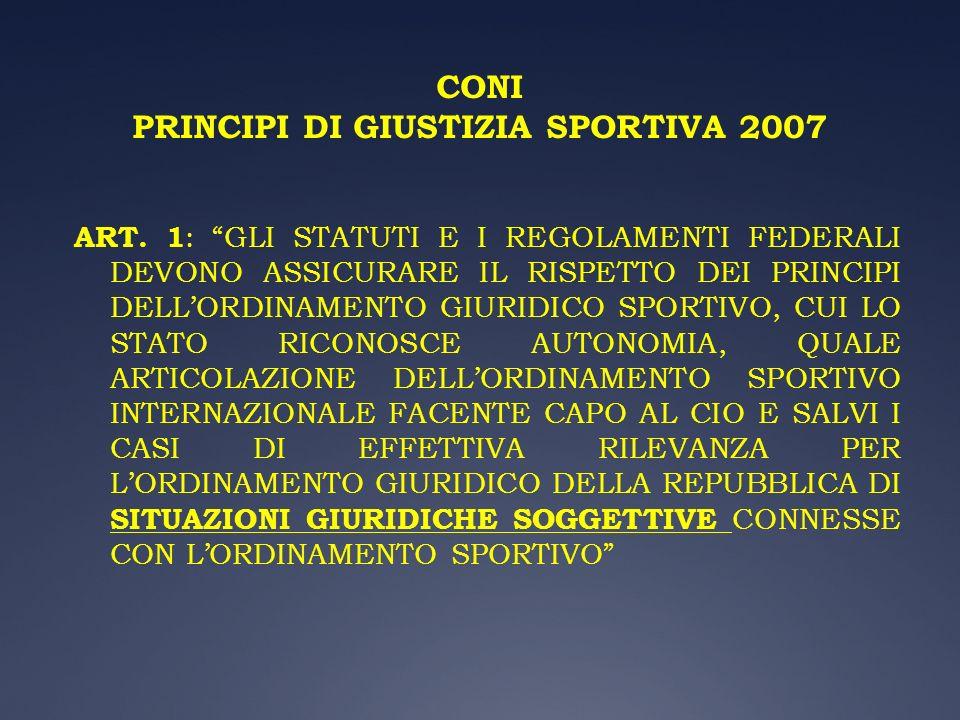 CONI PRINCIPI DI GIUSTIZIA SPORTIVA 2007 ART. 1 : GLI STATUTI E I REGOLAMENTI FEDERALI DEVONO ASSICURARE IL RISPETTO DEI PRINCIPI DELLORDINAMENTO GIUR