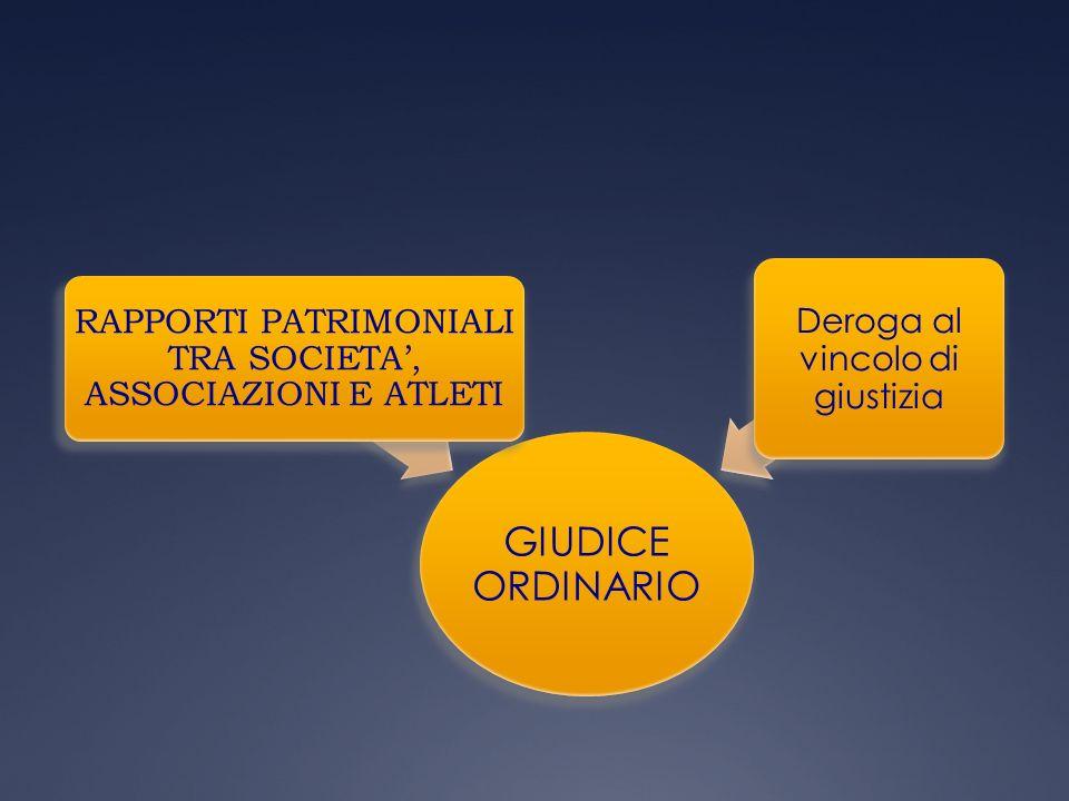 GIUDICE ORDINARIO RAPPORTI PATRIMONIALI TRA SOCIETA, ASSOCIAZIONI E ATLETI Deroga al vincolo di giustizia