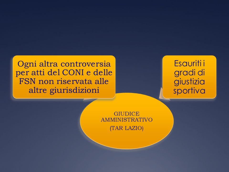 GIUDICE AMMINISTRATIVO (TAR LAZIO) Ogni altra controversia per atti del CONI e delle FSN non riservata alle altre giurisdizioni Esauriti i gradi di gi