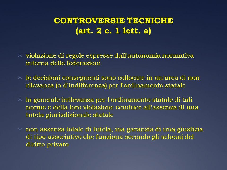 CONTROVERSIE TECNICHE (art. 2 c. 1 lett. a) violazione di regole espresse dall'autonomia normativa interna delle federazioni le decisioni conseguenti