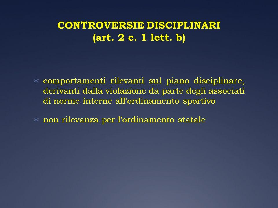CONTROVERSIE DISCIPLINARI (art. 2 c. 1 lett. b) comportamenti rilevanti sul piano disciplinare, derivanti dalla violazione da parte degli associati di