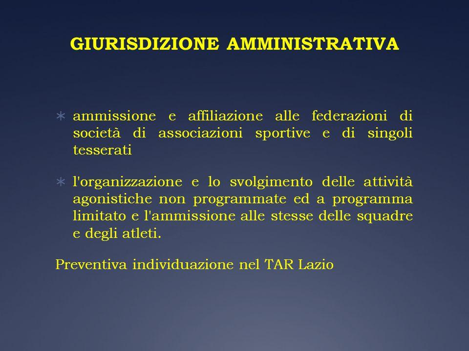 GIURISDIZIONE AMMINISTRATIVA ammissione e affiliazione alle federazioni di società di associazioni sportive e di singoli tesserati l'organizzazione e