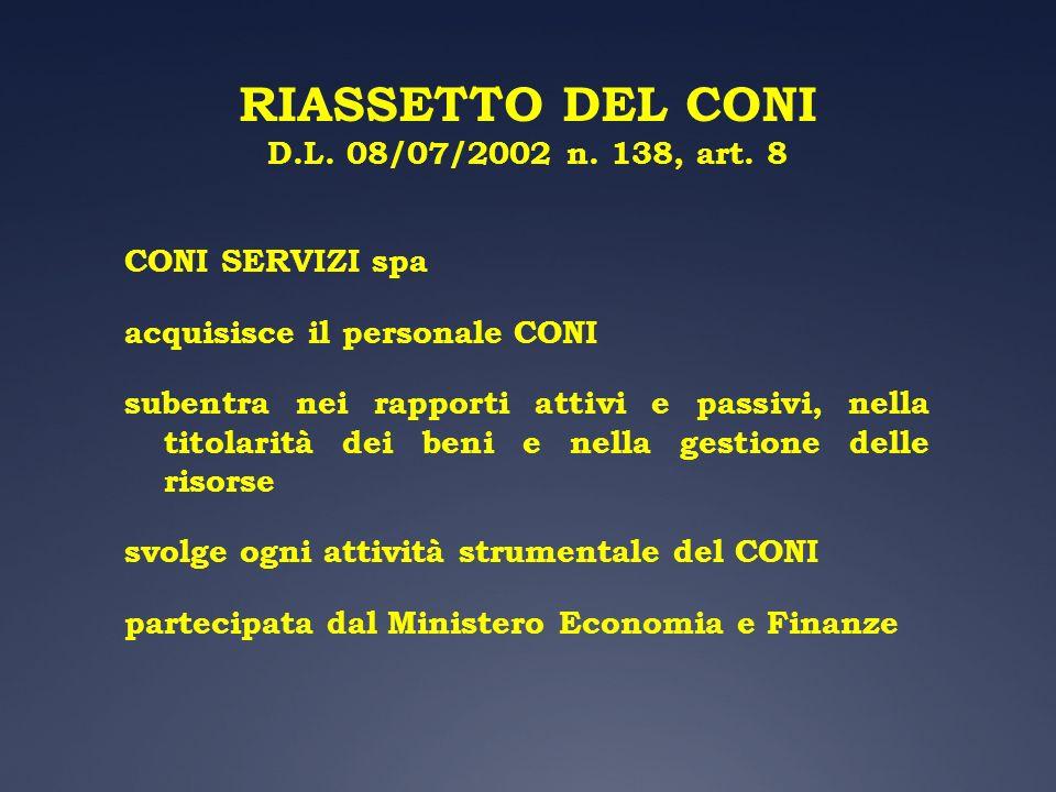 RIASSETTO DEL CONI D.L. 08/07/2002 n. 138, art. 8 CONI SERVIZI spa acquisisce il personale CONI subentra nei rapporti attivi e passivi, nella titolari