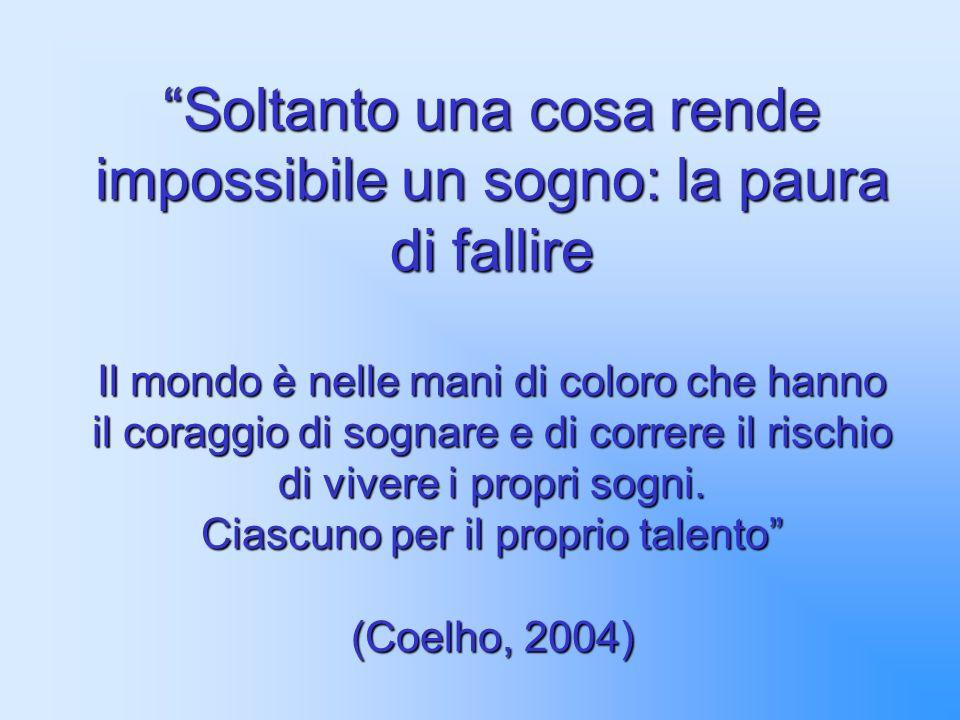 Soltanto una cosa rende impossibile un sogno: la paura di fallire Il mondo è nelle mani di coloro che hanno il coraggio di sognare e di correre il rischio di vivere i propri sogni.