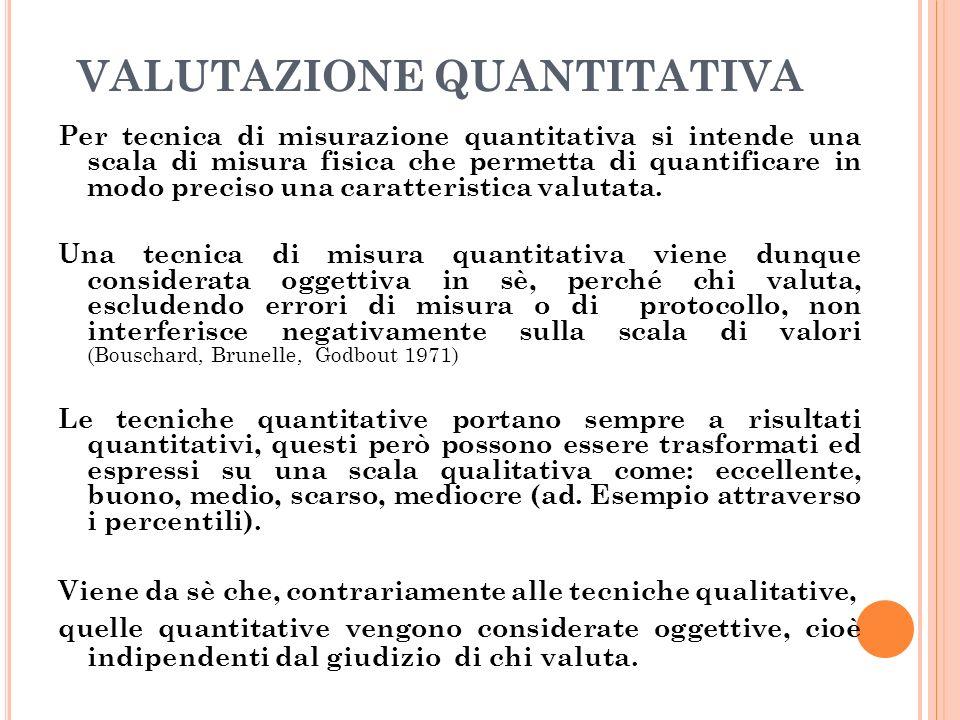 VALUTAZIONE QUANTITATIVA Per tecnica di misurazione quantitativa si intende una scala di misura fisica che permetta di quantificare in modo preciso una caratteristica valutata.