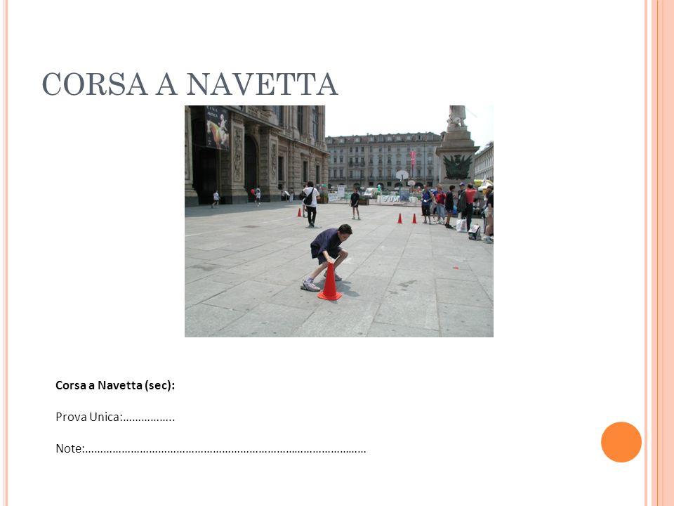 CORSA A NAVETTA Corsa a Navetta (sec): Prova Unica:…………….. Note:…………………………………………………………………………………