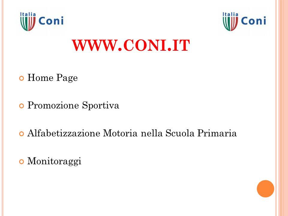 WWW. CONI. IT Home Page Promozione Sportiva Alfabetizzazione Motoria nella Scuola Primaria Monitoraggi