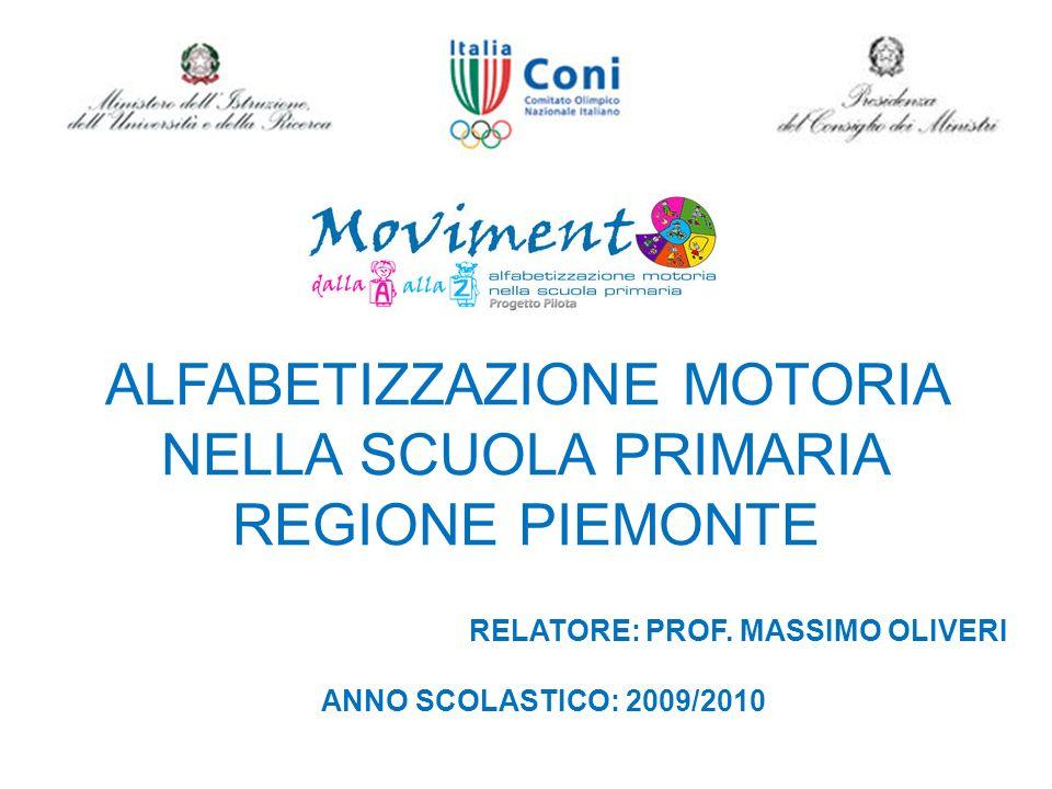 ALFABETIZZAZIONE MOTORIA NELLA SCUOLA PRIMARIA REGIONE PIEMONTE RELATORE: PROF. MASSIMO OLIVERI ANNO SCOLASTICO: 2009/2010