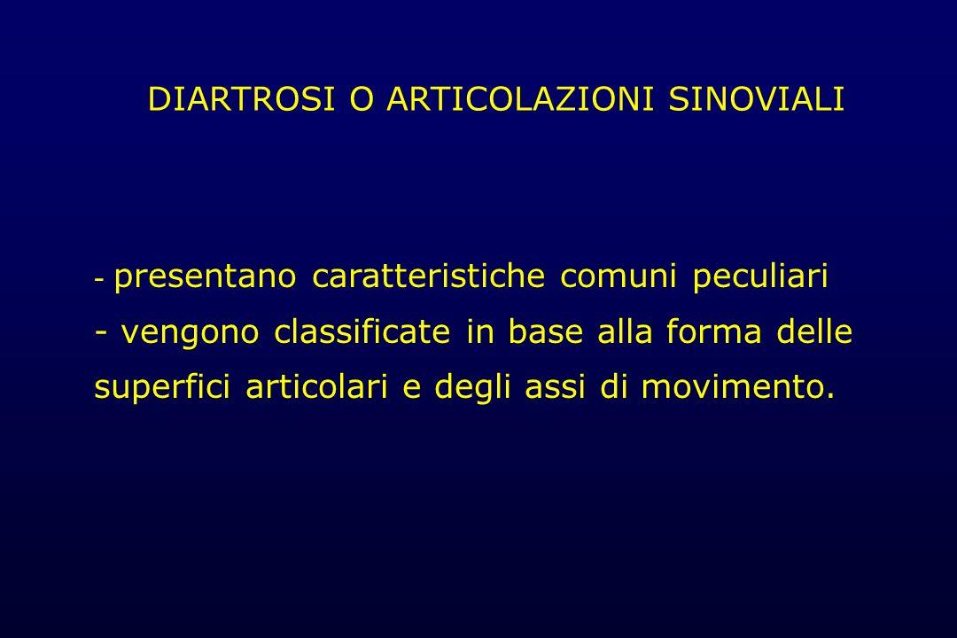DIARTROSI Caratteristiche - Cavità articolare - Capsula articolare: capsula fibrosa membrana sinoviale - Liquido sinoviale - Cartilagine ialina o articolare o di incrostazione -Legamenti articolari -Dispositivi diartrodiali