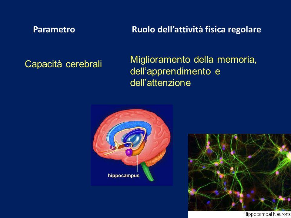 Parametro Ruolo dellattività fisica regolare Capacità cerebrali Miglioramento della memoria, dellapprendimento e dellattenzione
