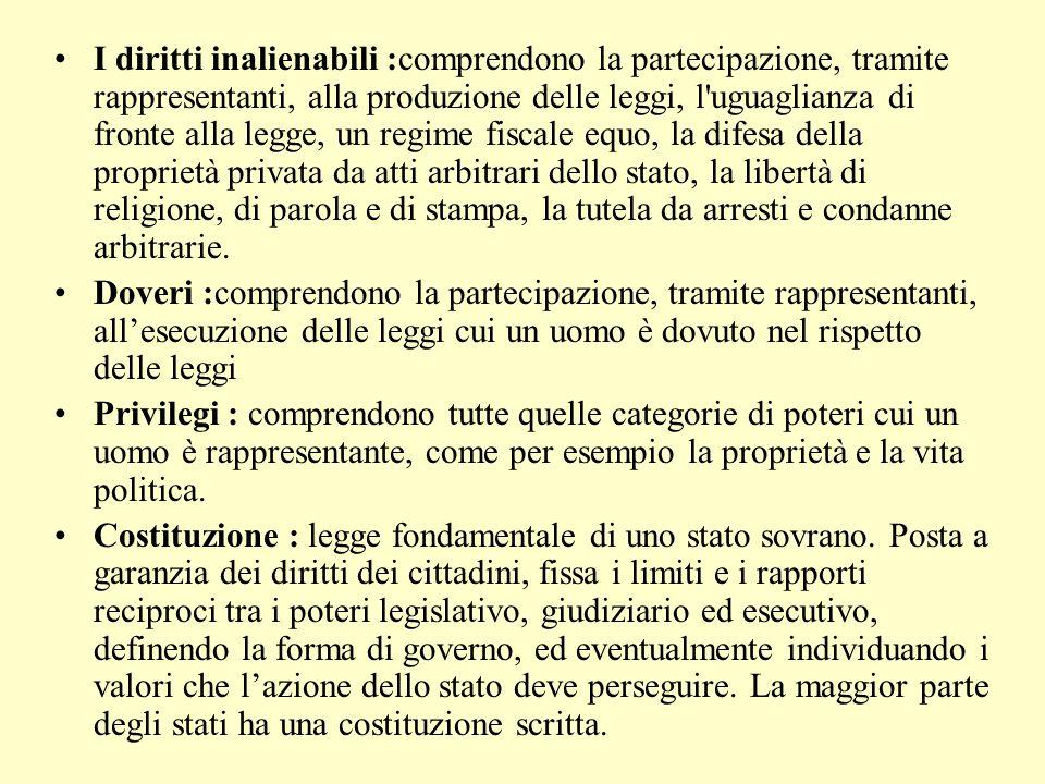 I diritti inalienabili :comprendono la partecipazione, tramite rappresentanti, alla produzione delle leggi, l'uguaglianza di fronte alla legge, un reg