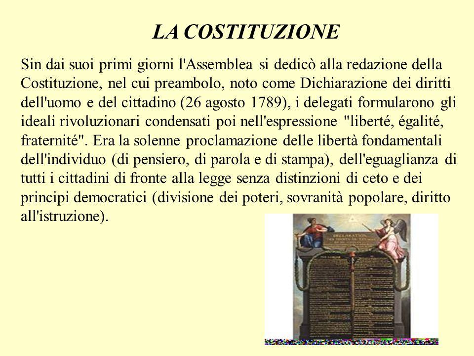 LA COSTITUZIONE Sin dai suoi primi giorni l'Assemblea si dedicò alla redazione della Costituzione, nel cui preambolo, noto come Dichiarazione dei diri