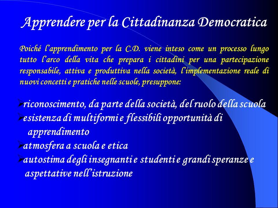 La richiesta di apprendimento per la cittadinanza democratica cambia la scuola da formativa (basata sullinsegnamento) a istituzione educativa costruttiva e modificabile (basata sullapprendimento).