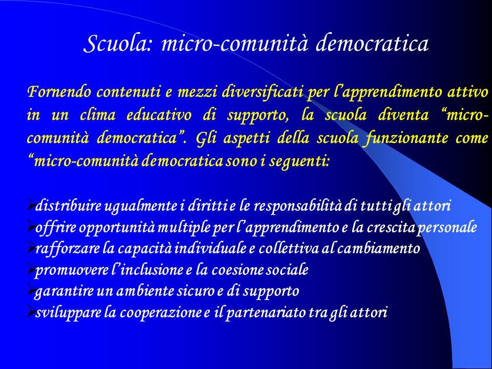 Fornendo contenuti e mezzi diversificati per lapprendimento attivo in un clima educativo di supporto, la scuola diventa micro- comunità democratica.