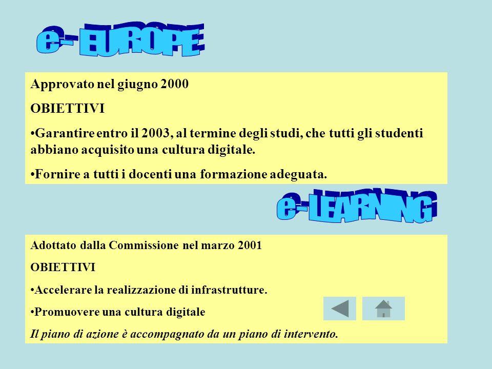 Approvato nel giugno 2000 OBIETTIVI Garantire entro il 2003, al termine degli studi, che tutti gli studenti abbiano acquisito una cultura digitale.