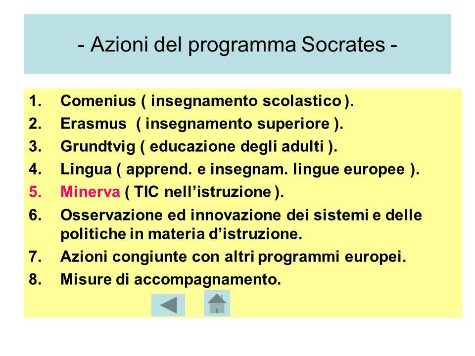 - Azioni del programma Socrates - 1.Comenius ( insegnamento scolastico ).