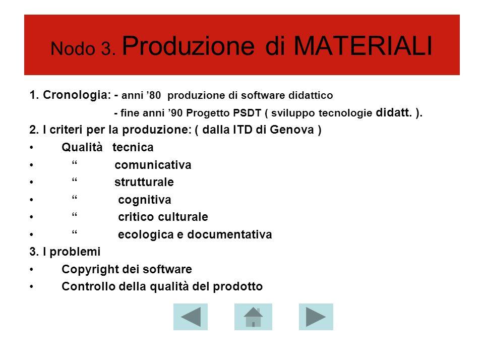 Nodo 3. Produzione di MATERIALI 1.