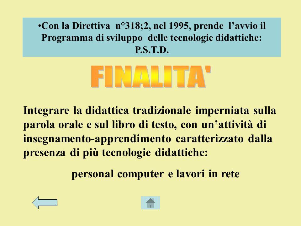 Con la Direttiva n°318;2, nel 1995, prende lavvio il Programma di sviluppo delle tecnologie didattiche: P.S.T.D.