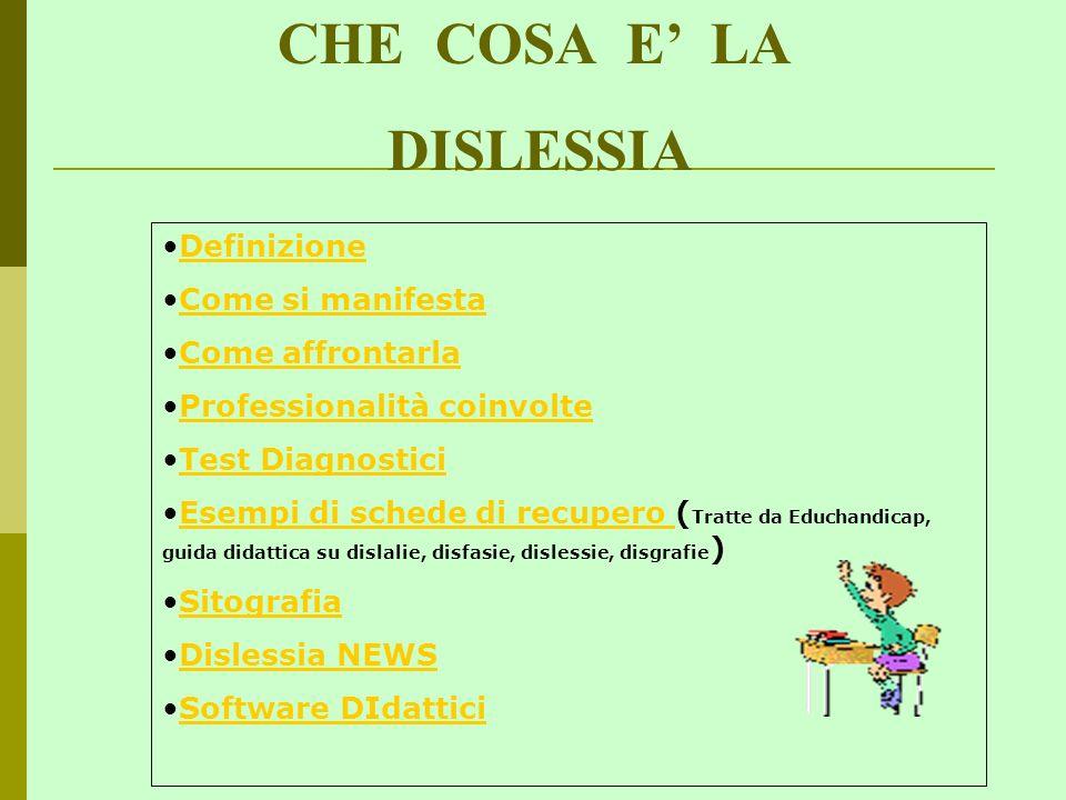 CHE COSA E LA DISLESSIA Definizione Come si manifesta Come affrontarla Professionalità coinvolte Test Diagnostici Esempi di schede di recupero ( Tratt