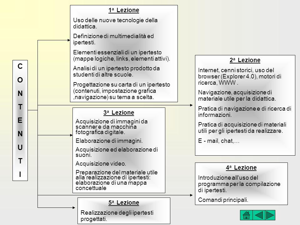 CONTENUTICONTENUTI 1 a Lezione Uso delle nuove tecnologie della didattica. Definizione di multimedialità ed ipertesti. Elementi essenziali di un ipert