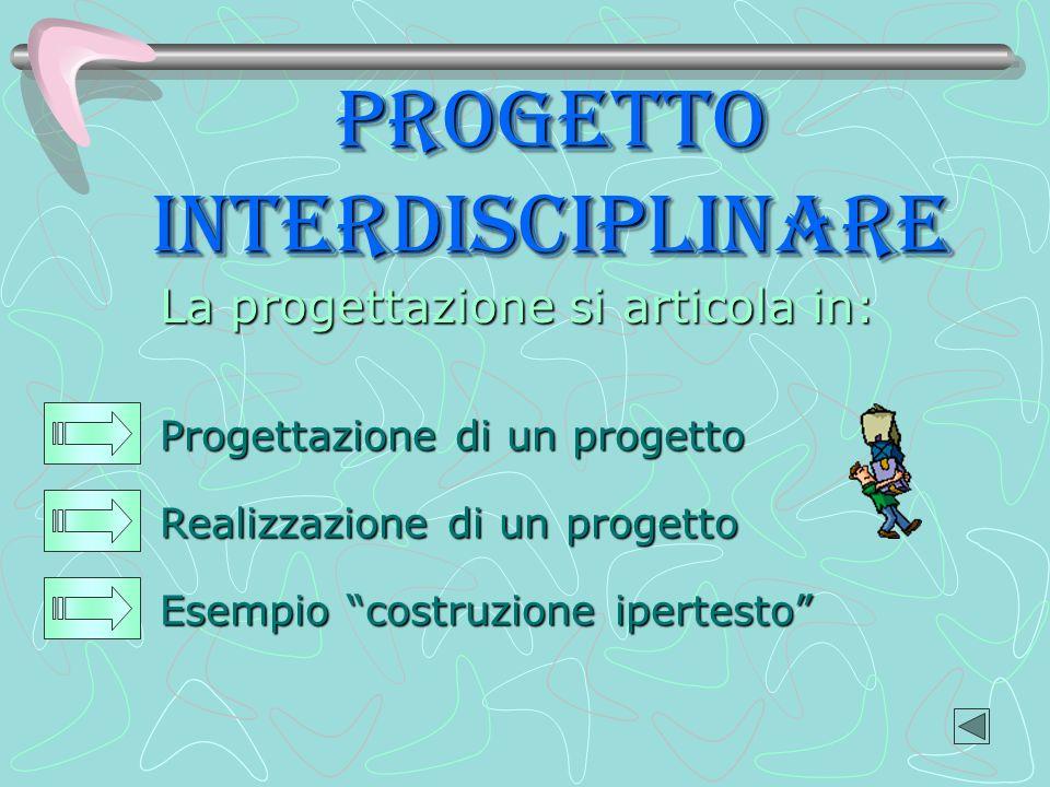 PROGETTo interdisciplinare La progettazione si articola in: Realizzazione di un progetto Progettazione di un progetto Esempio costruzione ipertesto