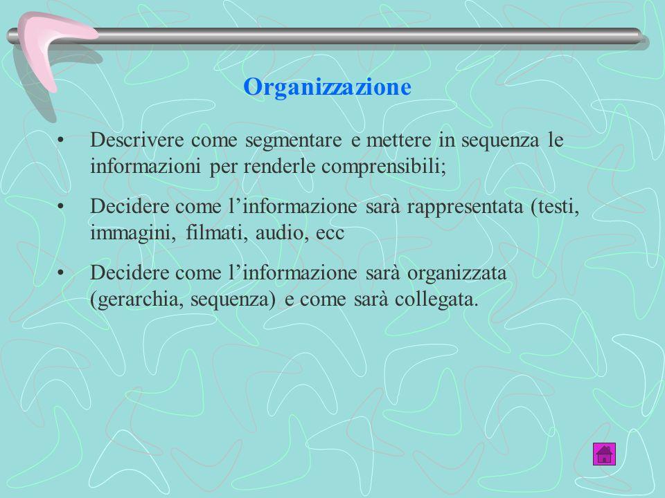 Organizzazione Descrivere come segmentare e mettere in sequenza le informazioni per renderle comprensibili; Decidere come linformazione sarà rappresentata (testi, immagini, filmati, audio, ecc Decidere come linformazione sarà organizzata (gerarchia, sequenza) e come sarà collegata.