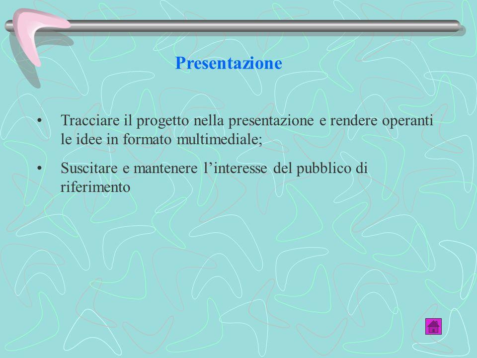 Presentazione Tracciare il progetto nella presentazione e rendere operanti le idee in formato multimediale; Suscitare e mantenere linteresse del pubblico di riferimento