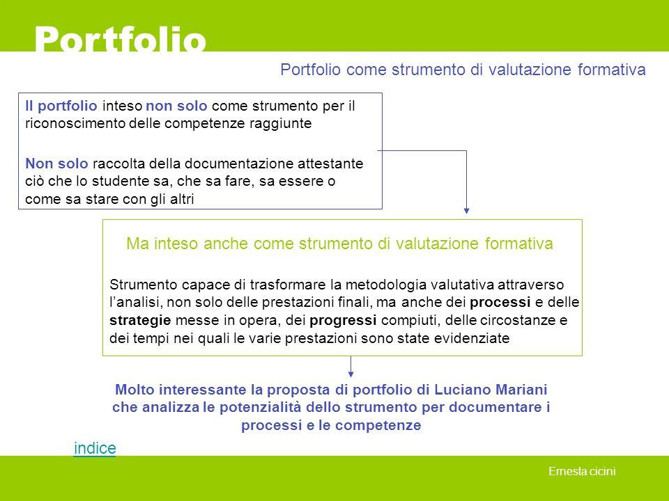 Portfolio Ernesta cicini Il portfolio inteso non solo come strumento per il riconoscimento delle competenze raggiunte Portfolio come strumento di valu