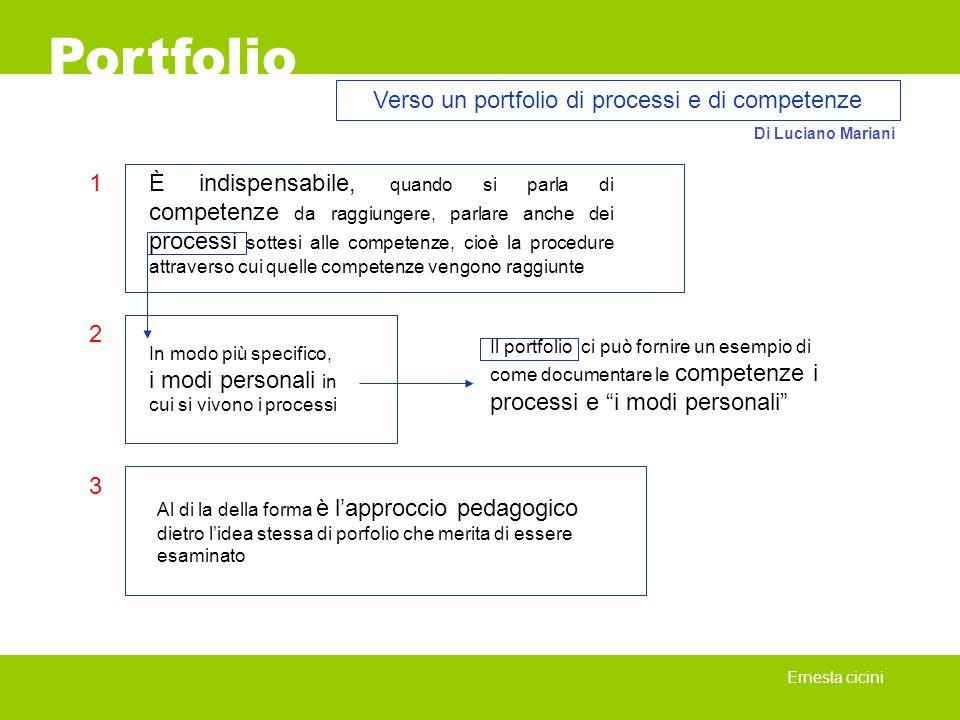 Portfolio Ernesta cicini Verso un portfolio di processi e di competenze Di Luciano Mariani È indispensabile, quando si parla di competenze da raggiung