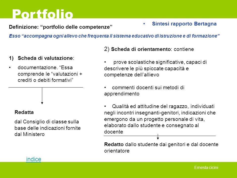Portfolio Ernesta cicini http://www.irre.lombardia.it/portfolio/portstud.html sito dell IRRE-Lombardia http://www.istruzione.it/argomenti/portfolio/index.shtml Il sito Ministero per l Istruzione, l Università e la Ricerca: http://www.nwrel.org/eval/library/bibliographies.html Bibliography of assessment alternatives: Portfoliossi http://culture2.coe.int/portfolio/ sito del Consiglio dEuropa http://www.unifr.ch/ids/Portfolio/ sito della sperimentazione svizzera del Portfolio Europeo http://www.sprachenportfolio.ch/ Portfolio Europeo delle lingue www.learningpaths.org/portfolio/index.htm sito di Luciano Mariani dedicato al portfolio Siti consigliati Fine