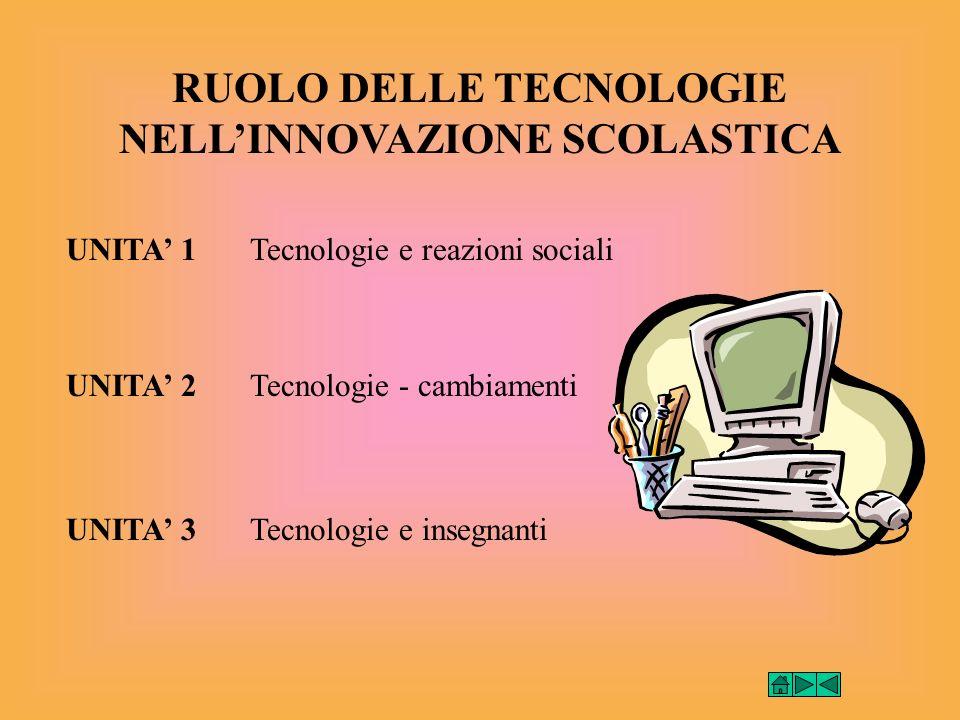 RUOLO DELLE TECNOLOGIE NELLINNOVAZIONE SCOLASTICA UNITA 1 UNITA 2 UNITA 3 Tecnologie e reazioni sociali Tecnologie - cambiamenti Tecnologie e insegnanti