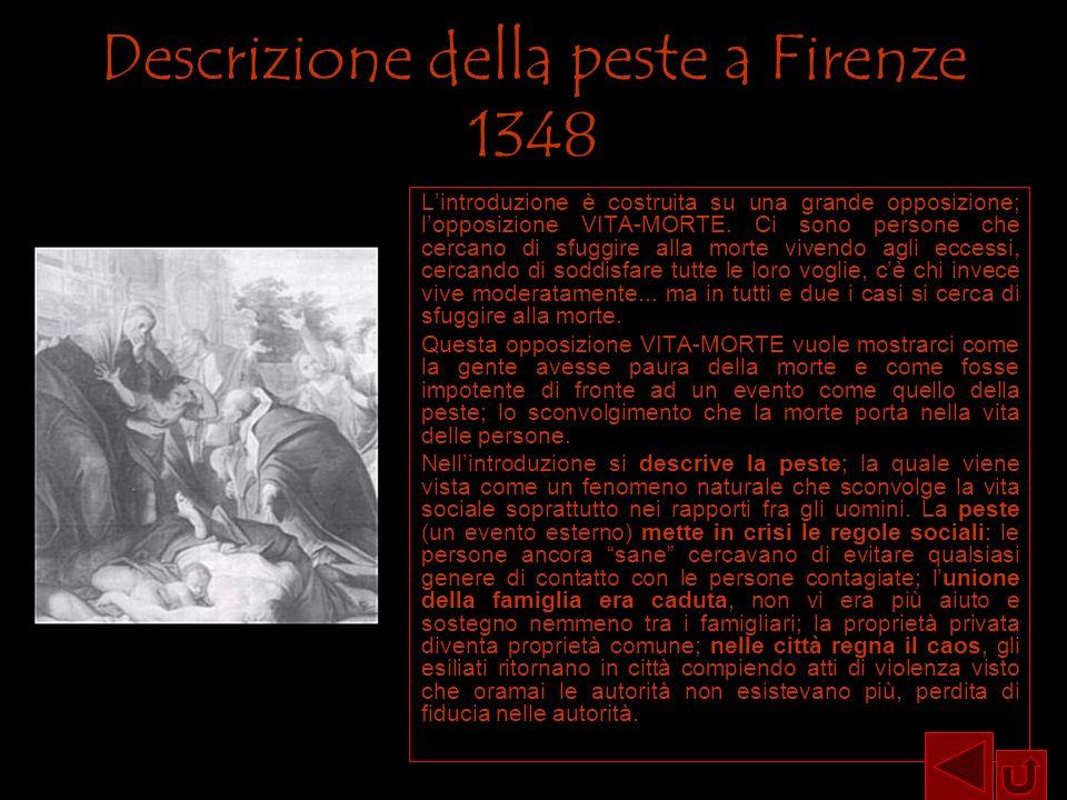Descrizione della peste a Firenze 1348 Lintroduzione è costruita su una grande opposizione; lopposizione VITA-MORTE. Ci sono persone che cercano di sf