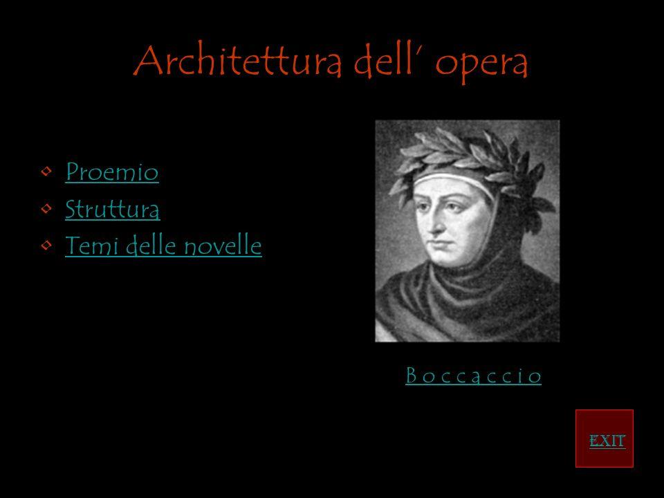 Architettura dell opera Proemio Struttura Temi delle novelle EXIT B o c c a c c i o