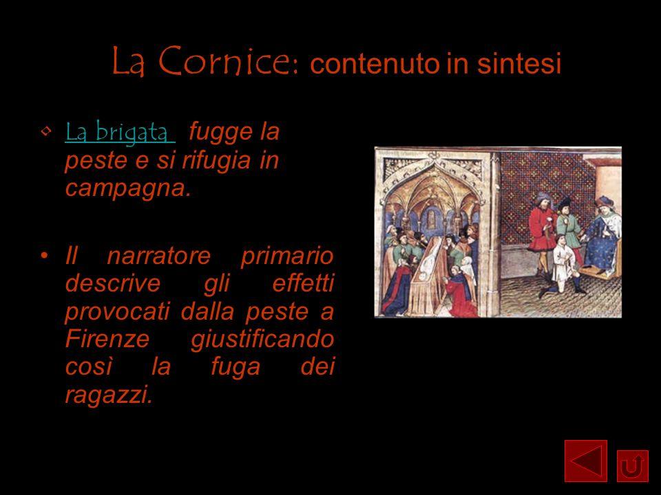 La Cornice: contenuto in sintesi La brigata fugge la peste e si rifugia in campagna.La brigata Il narratore primario descrive gli effetti provocati da