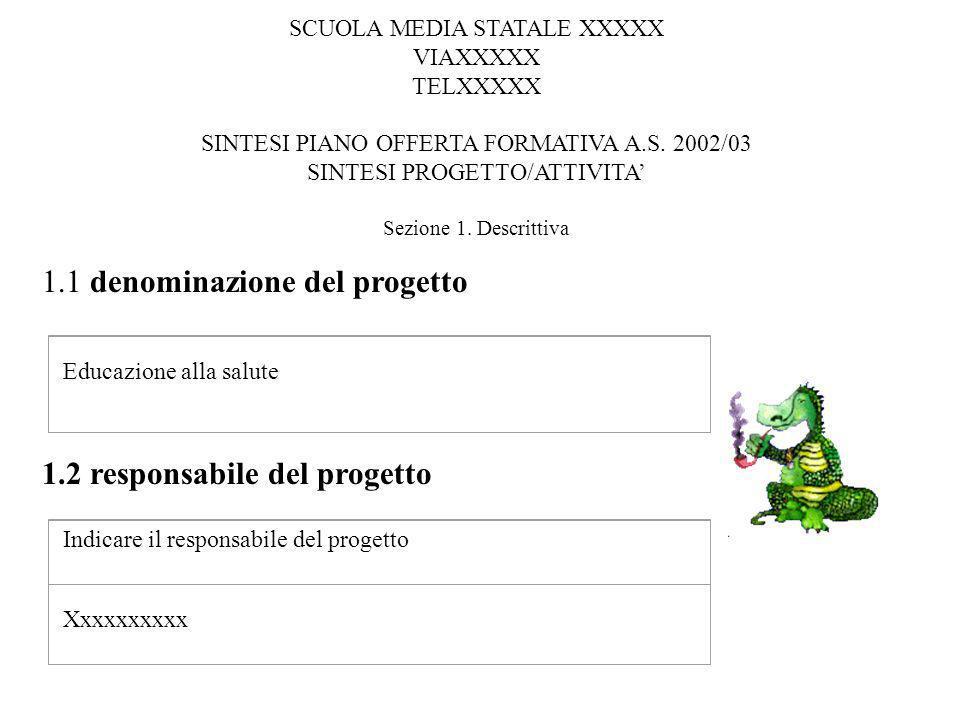 Educazione alla salute Indicare il responsabile del progetto Xxxxxxxxxx 1.1 denominazione del progetto 1.2 responsabile del progetto SCUOLA MEDIA STAT