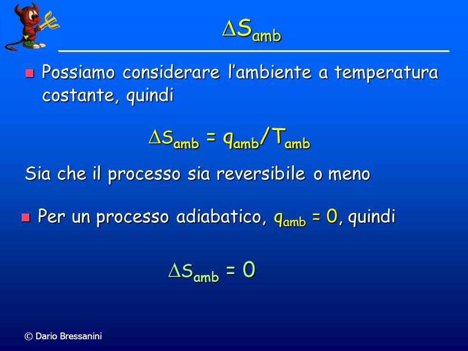 © Dario Bressanini S amb S amb Lentropia totale dellUniverso è la somma dellentropia del sistema e di quella dellAmbiente S tot = S amb + S sis Lentro