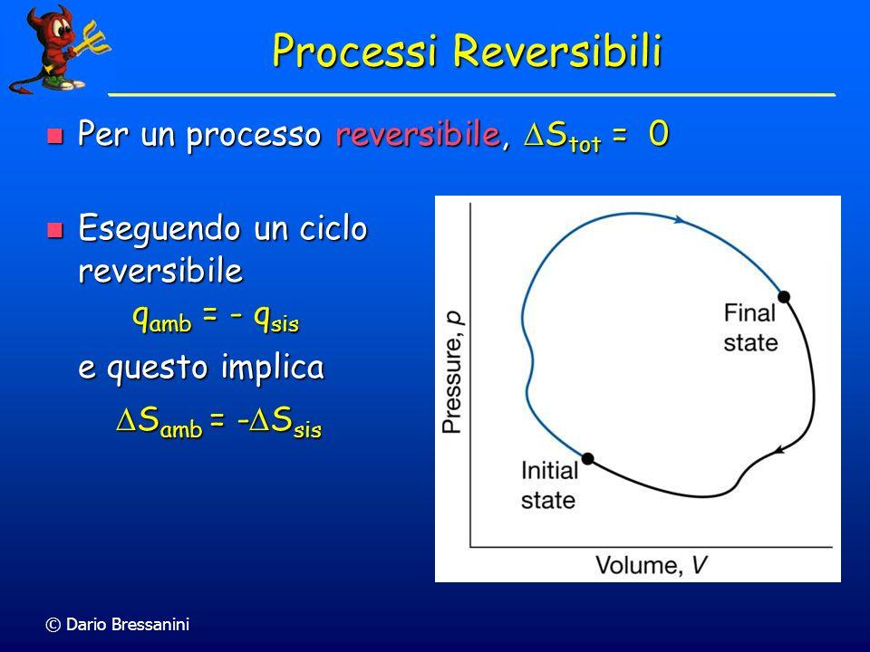 © Dario Bressanini Entropia per processi spontanei Per processi spontanei S tot = S sis + S amb > 0 Per processi spontanei S tot = S sis + S amb > 0 D