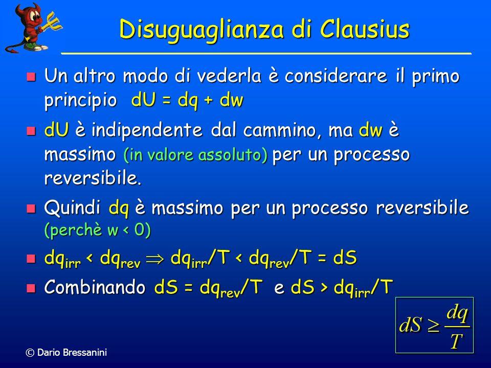 © Dario Bressanini Disuguaglianza di Clausius Consideriamo sistema e ambiente in equilibrio termico ma non in equilibrio meccanico (ad esempio diversa
