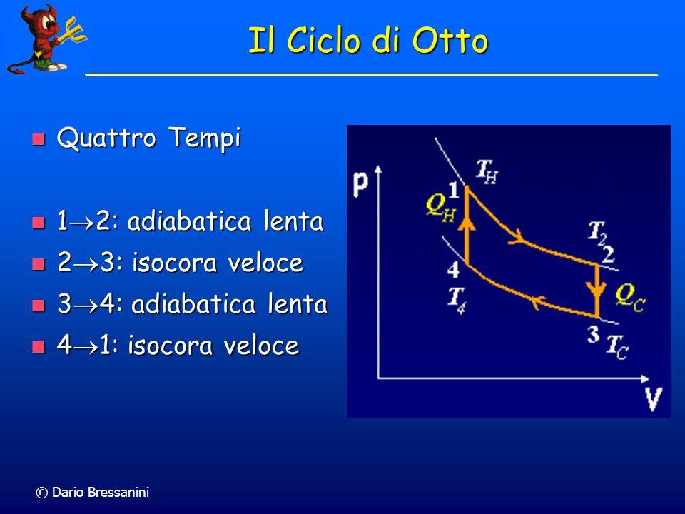 © Dario Bressanini Ciclo di Carnot Efficienza: Lavoro Compiuto / Calore Assorbito = 1-T C /T H Efficienza: Lavoro Compiuto / Calore Assorbito = 1-T C